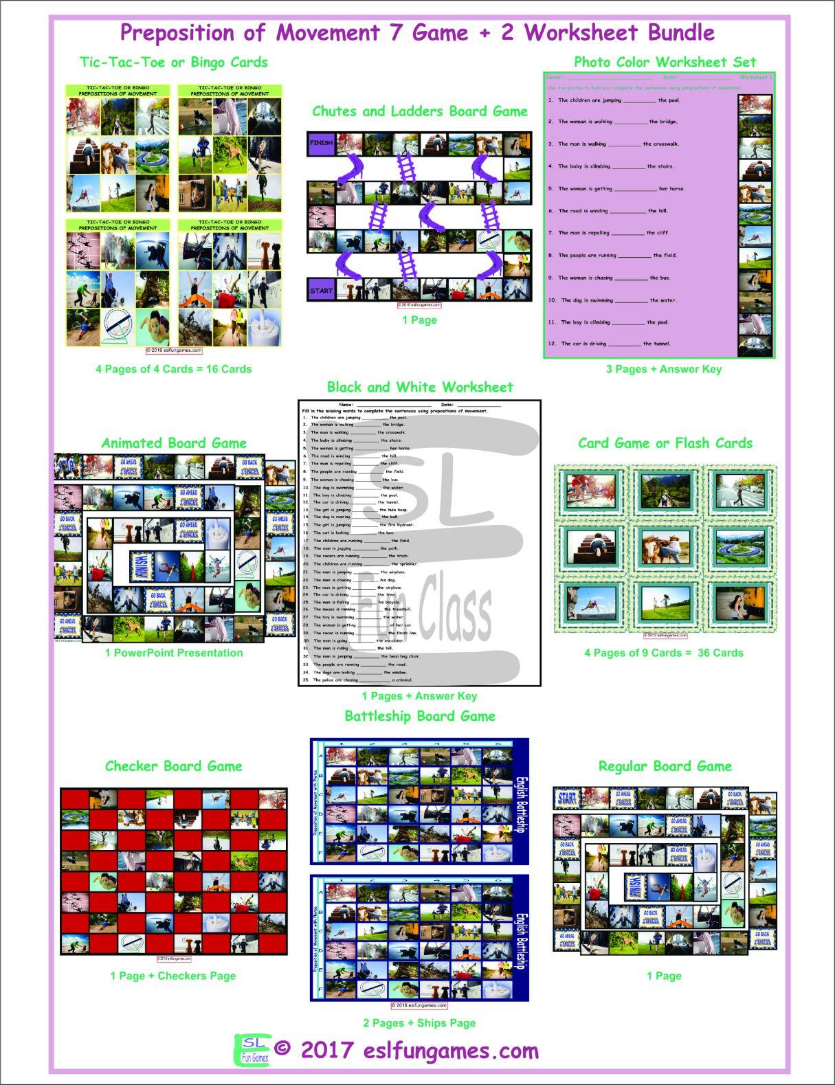 Prepositions Of Movement 7 Game Plus 2 Worksheet Bundle