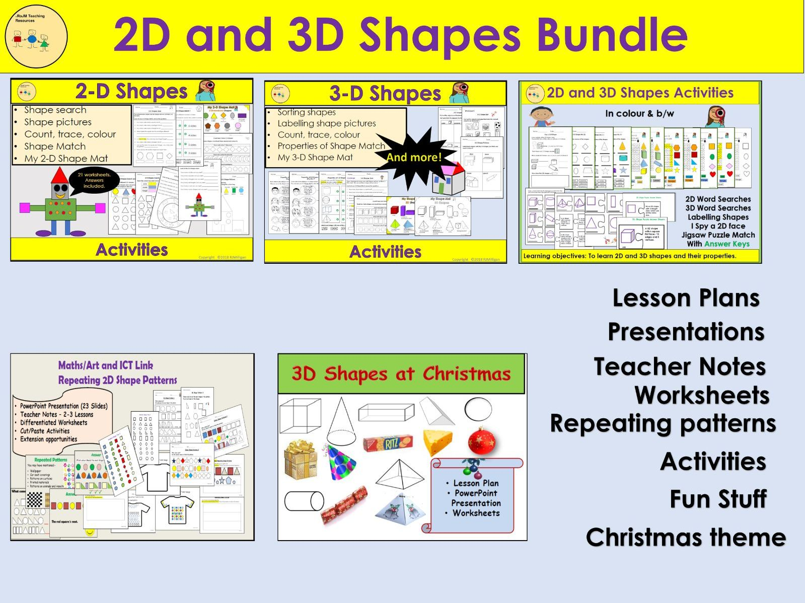 2d And 3d Shapes Worksheets Activities Repeating