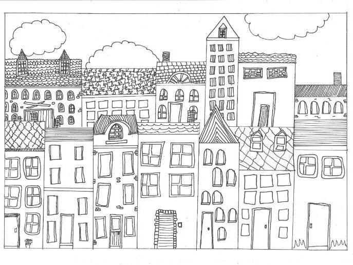 Town, City, and Settlement Colouring Page by sarah277