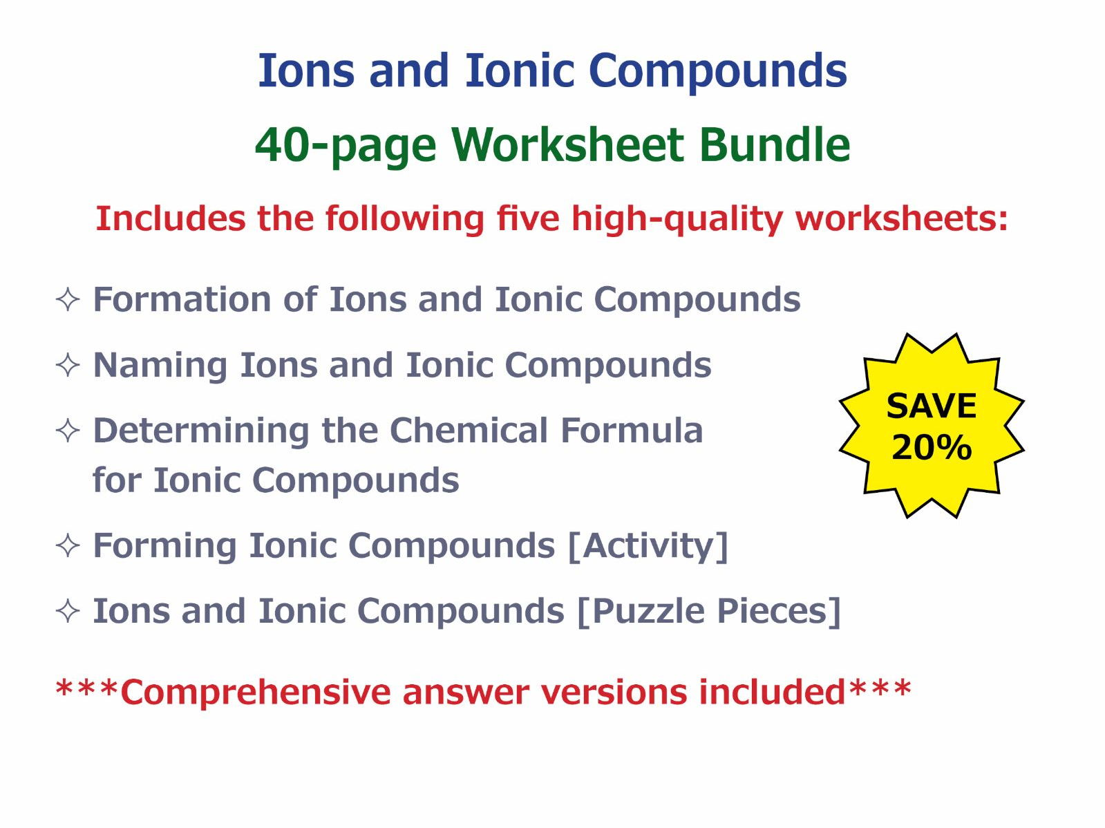Ions And Ionic Compounds Worksheet Bundle By Goodscienceworksheets