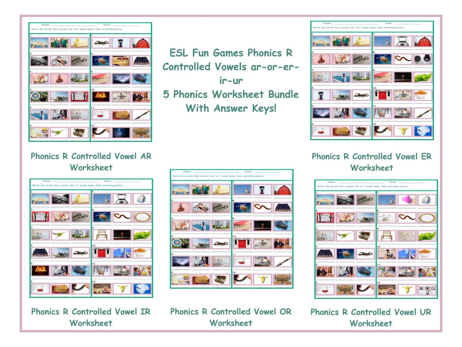 Phonics R Controlled Vowels Ar Or Er Ir Ur 5 Worksheet Bundle By Eslfungames