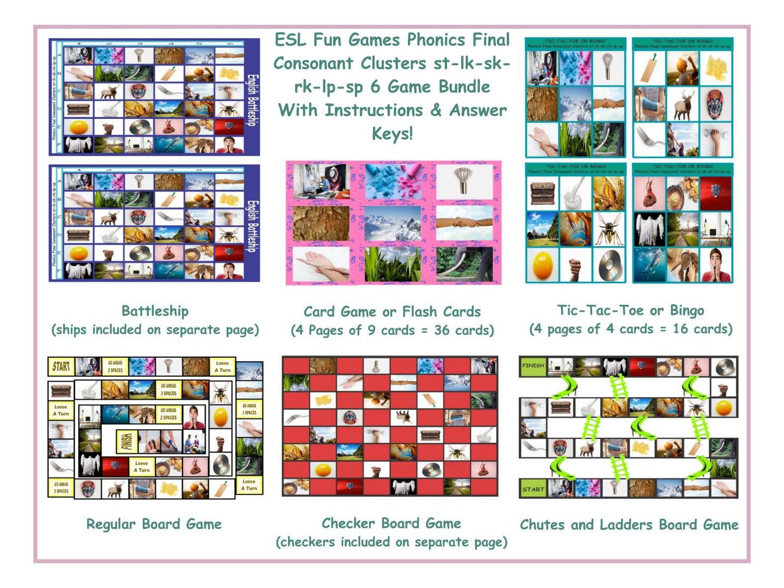 Phonics Final Consonant Clusters St Lk Sk Rk Lp Sp 6 Game