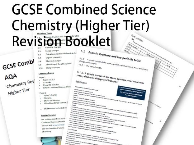 GCSE AQA Combined Science Chemistry Revision Booklet by