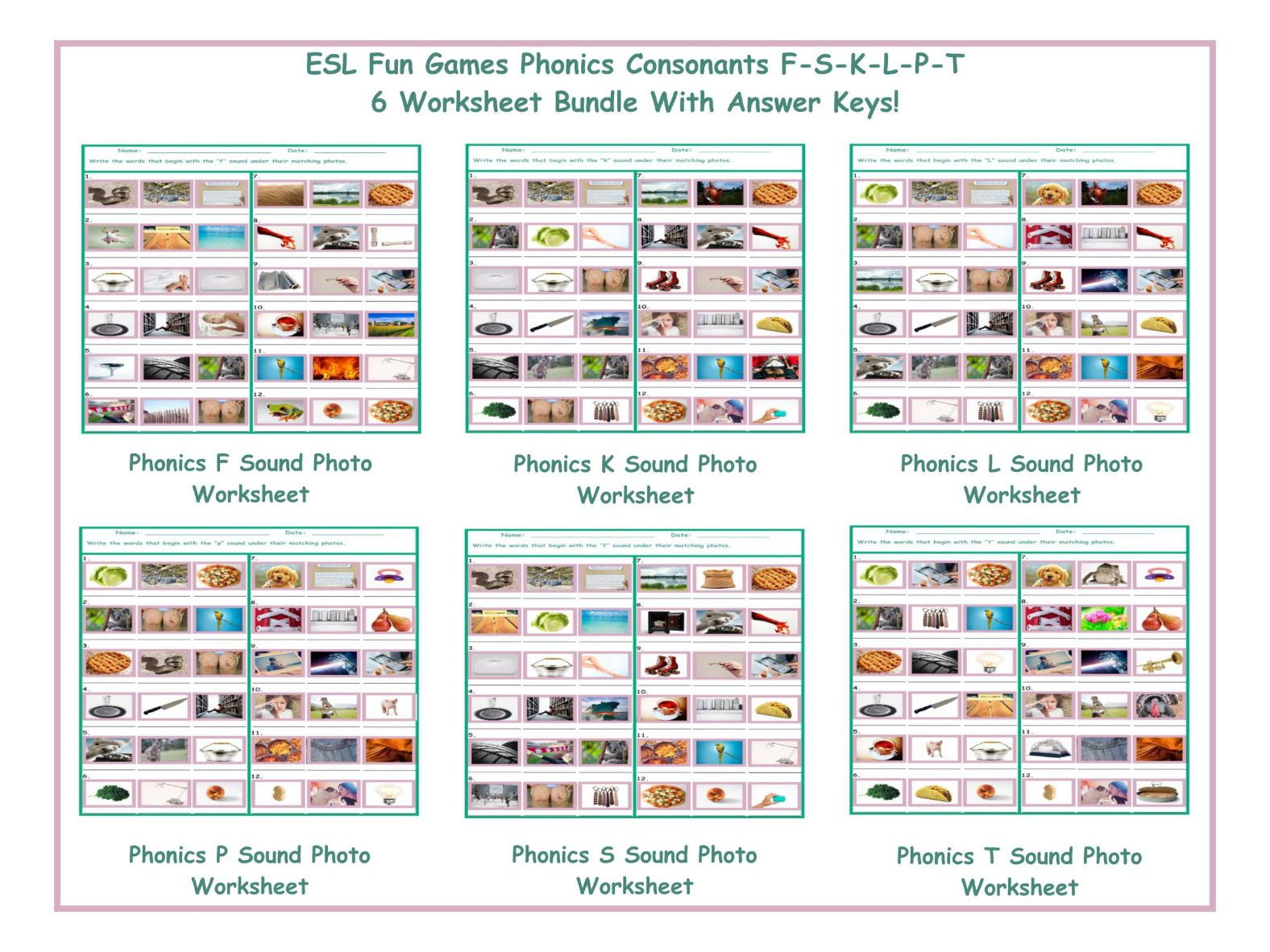 Phonics Consonants F S K L P T 6 Worksheet Bundle By Eslfungames