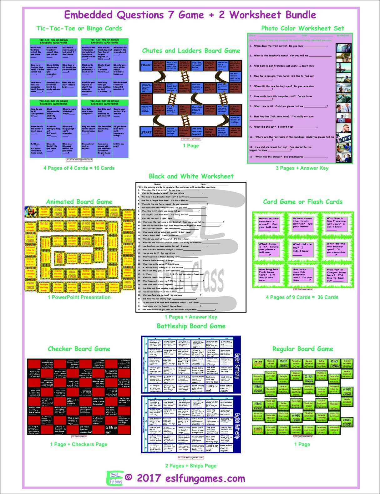 Embedded Questions 7 Game Plus 2 Worksheet Bundle By Eslfungames