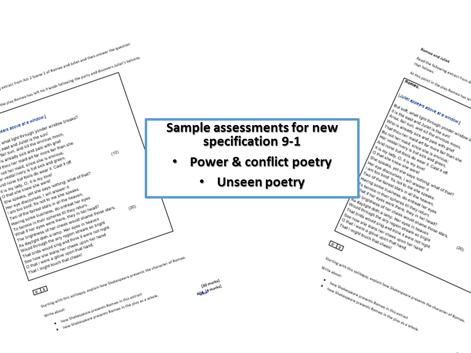AQA new specification poetry 6 exam question materials