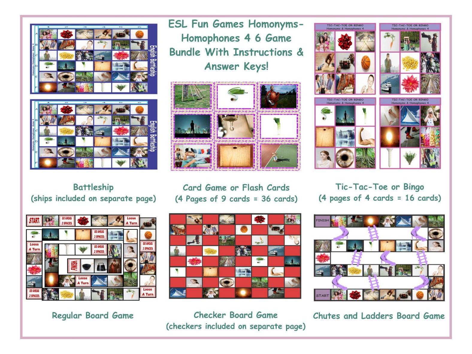 Homonyms Homophones 4 Six Game Bundle By Eslfungames