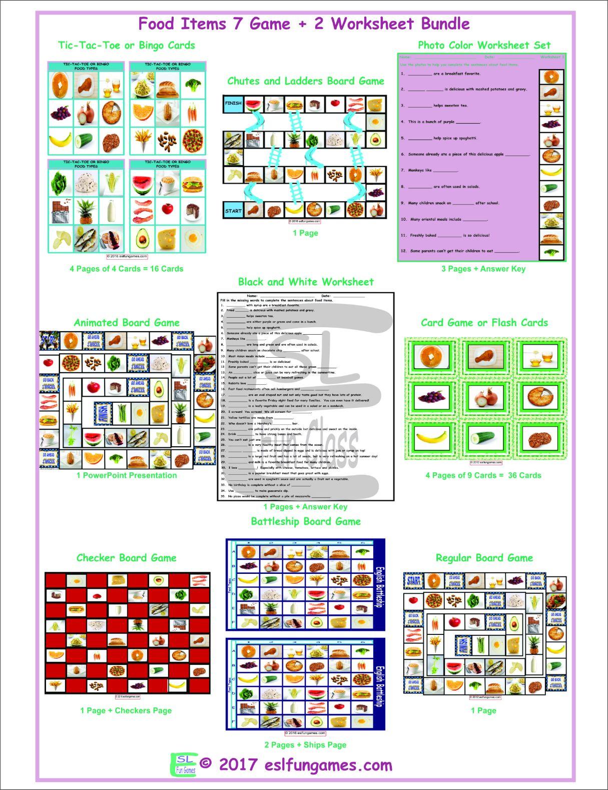 Food Items 7 Game Plus 2 Worksheet Bundle By Eslfungames