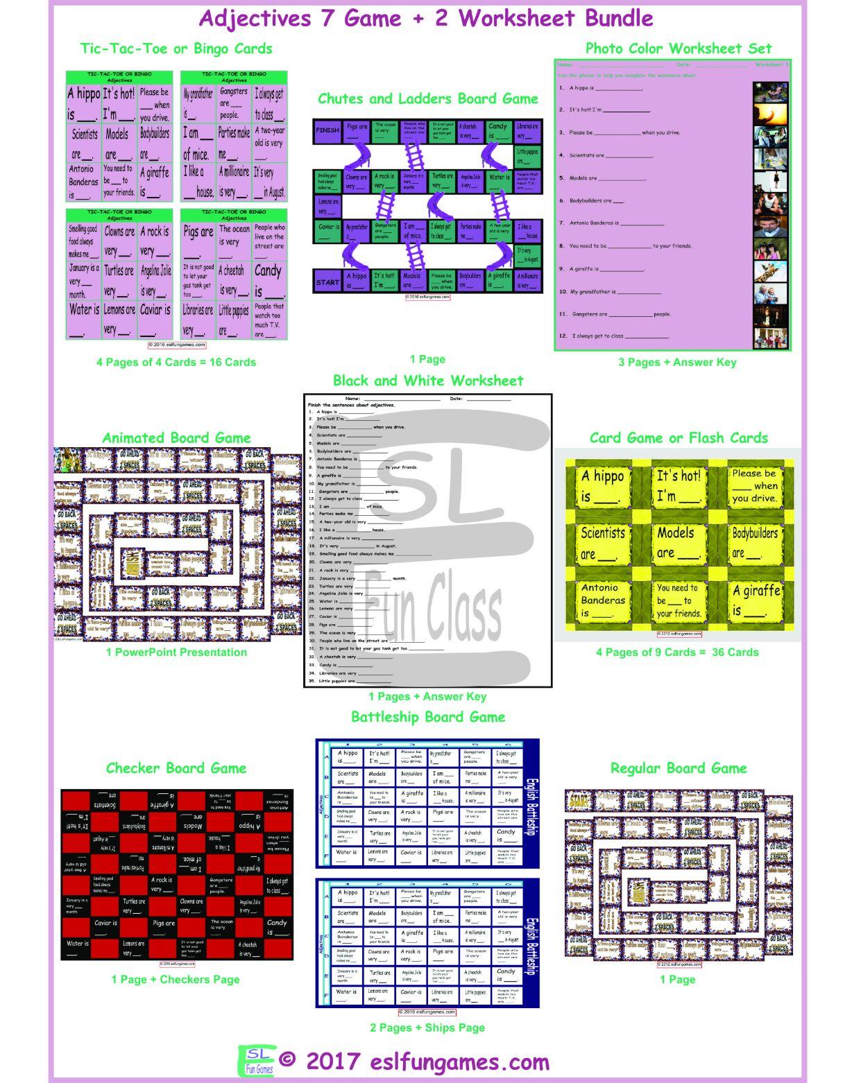 Adjectives 7 Game Plus 2 Worksheet Bundle By Eslfungames