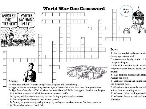 WW1 Crossword Puzzle on Terms and Concepts by Meltzerr