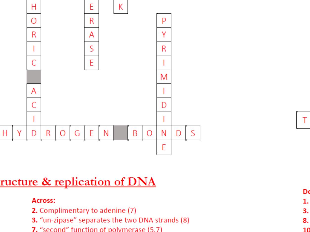 Crosswords For A Level Biology Genetics Amp Evolution
