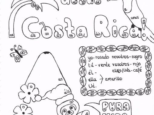 Spanish Color by conjugation AR-verbs Costa Rica Christmas