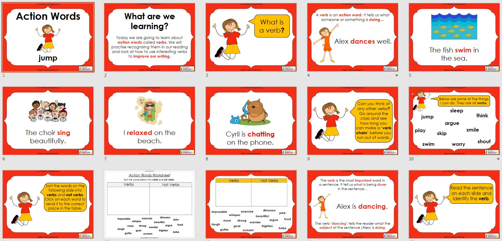 hight resolution of Verbs - Action Words (PowerPoint and worksheets)   Teaching Resources