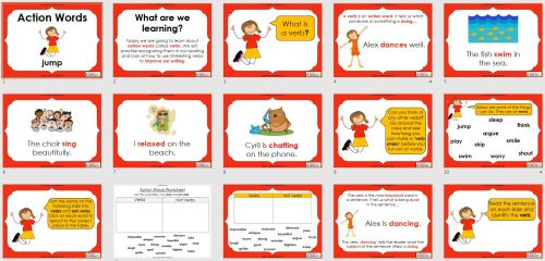 small resolution of Verbs - Action Words (PowerPoint and worksheets)   Teaching Resources