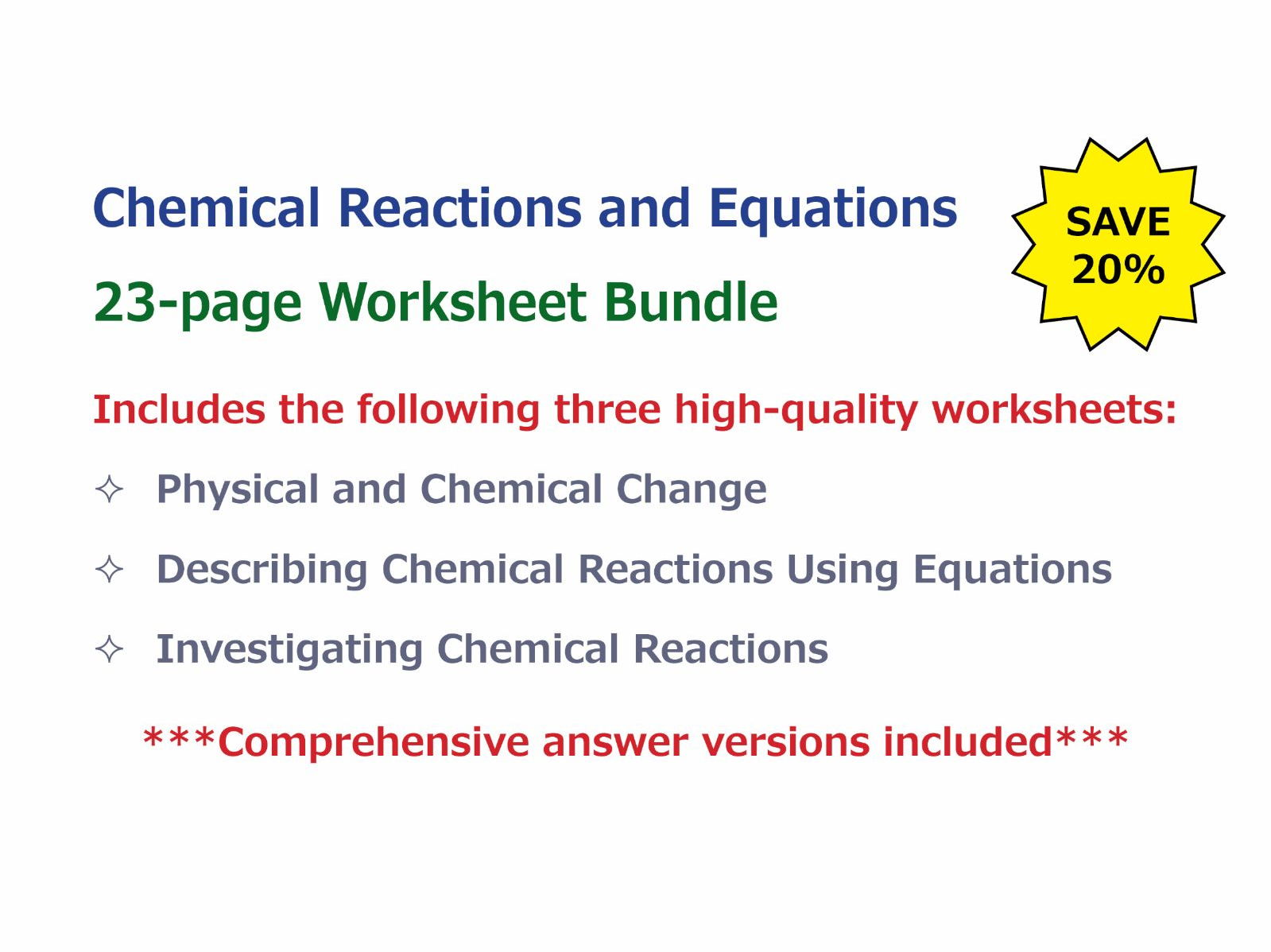 Chemical Reactions And Equations Worksheet Bundle By