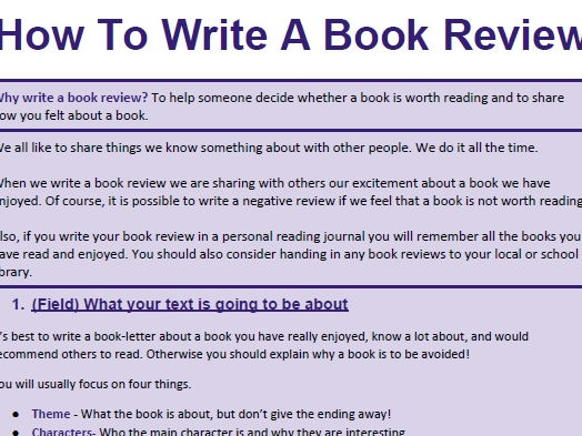 how to write a book review # 1