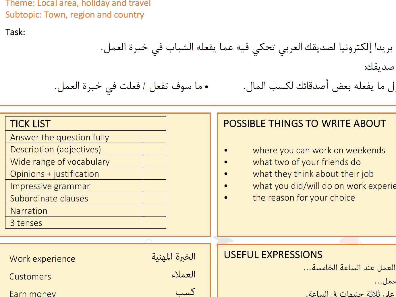 Gcse Arabic Writing Worksheets And Speaking Questions By