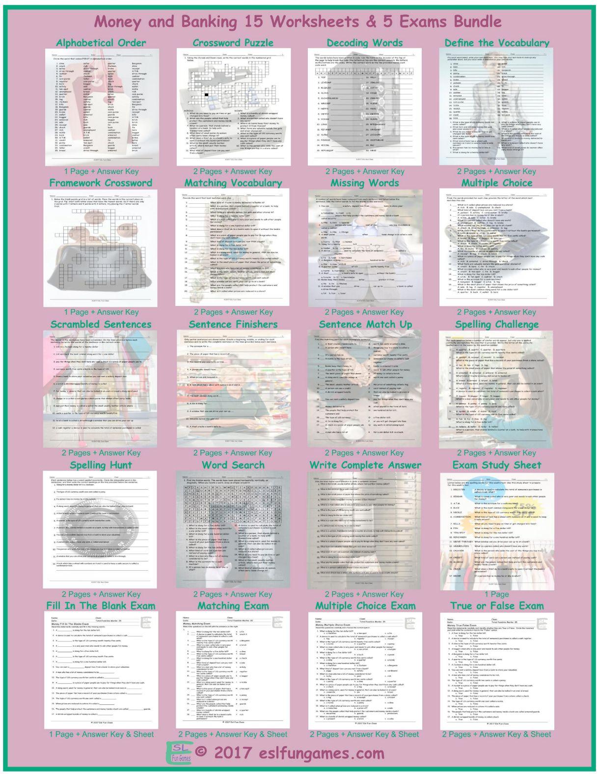 Money Banking 20 Worksheet And Exam Bundle By Eslfungames