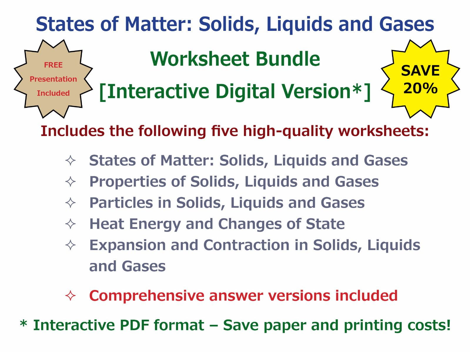 States Of Matter Solids Liquids And Gases Worksheet Bundle
