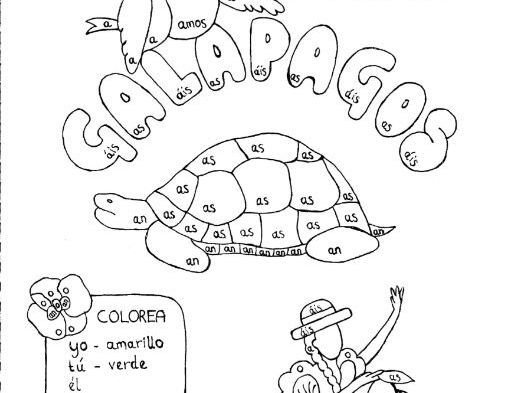 Spanish Color by conjugation AR-verb conjugation Galapagos
