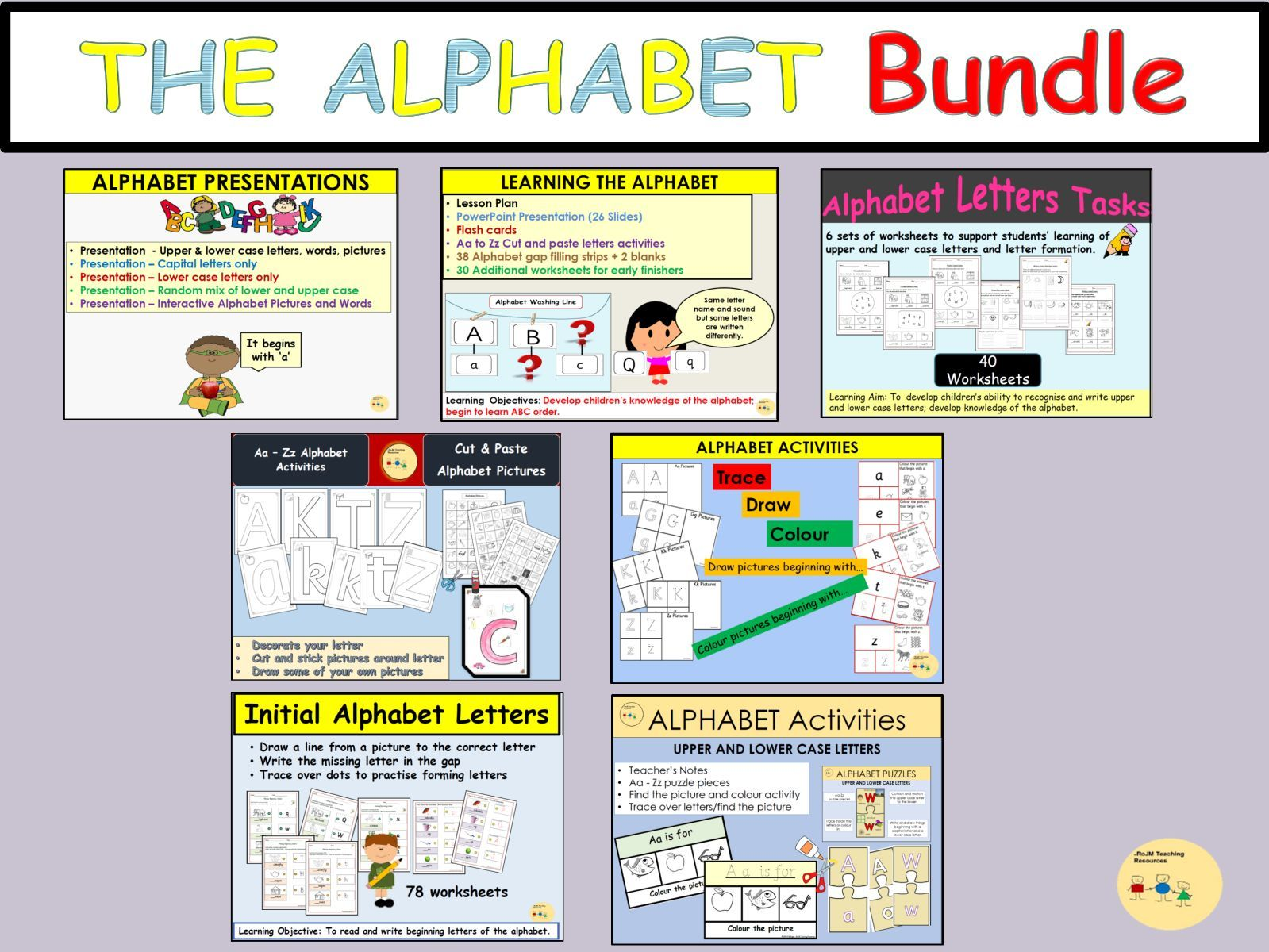 Alphabet Bundle Lesson Plans Presentations Worksheets