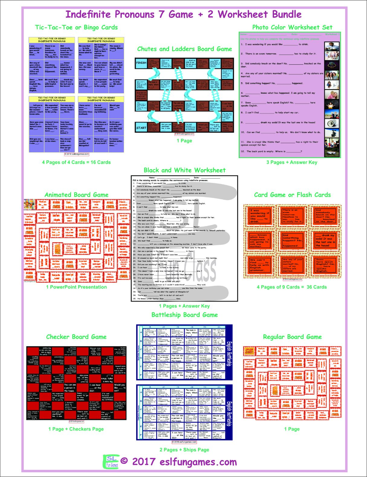 Indefinite Pronouns 7 Game Plus 2 Worksheet Bundle By Eslfungames