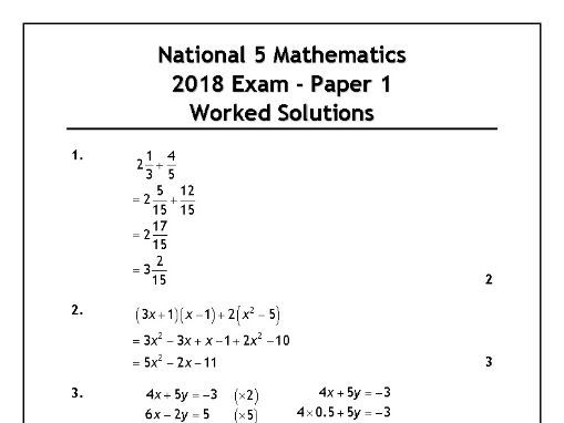National 5 Maths 2018 Exam Solutions. by mrmcleanmaths