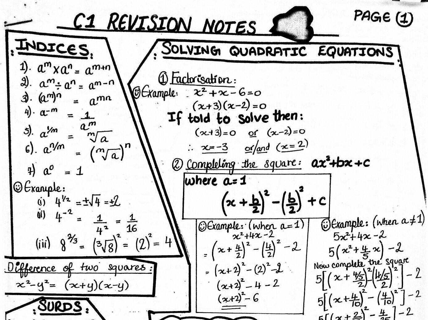 C1 A level Maths student revision notes by uazeem