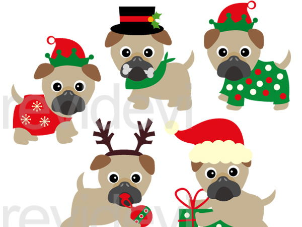 cute christmas pugs clip art graphics