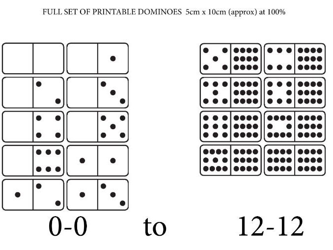A PRINTABLE SET OF 'PLAIN' DOMINOES for NUMBER WORK 0-0 to