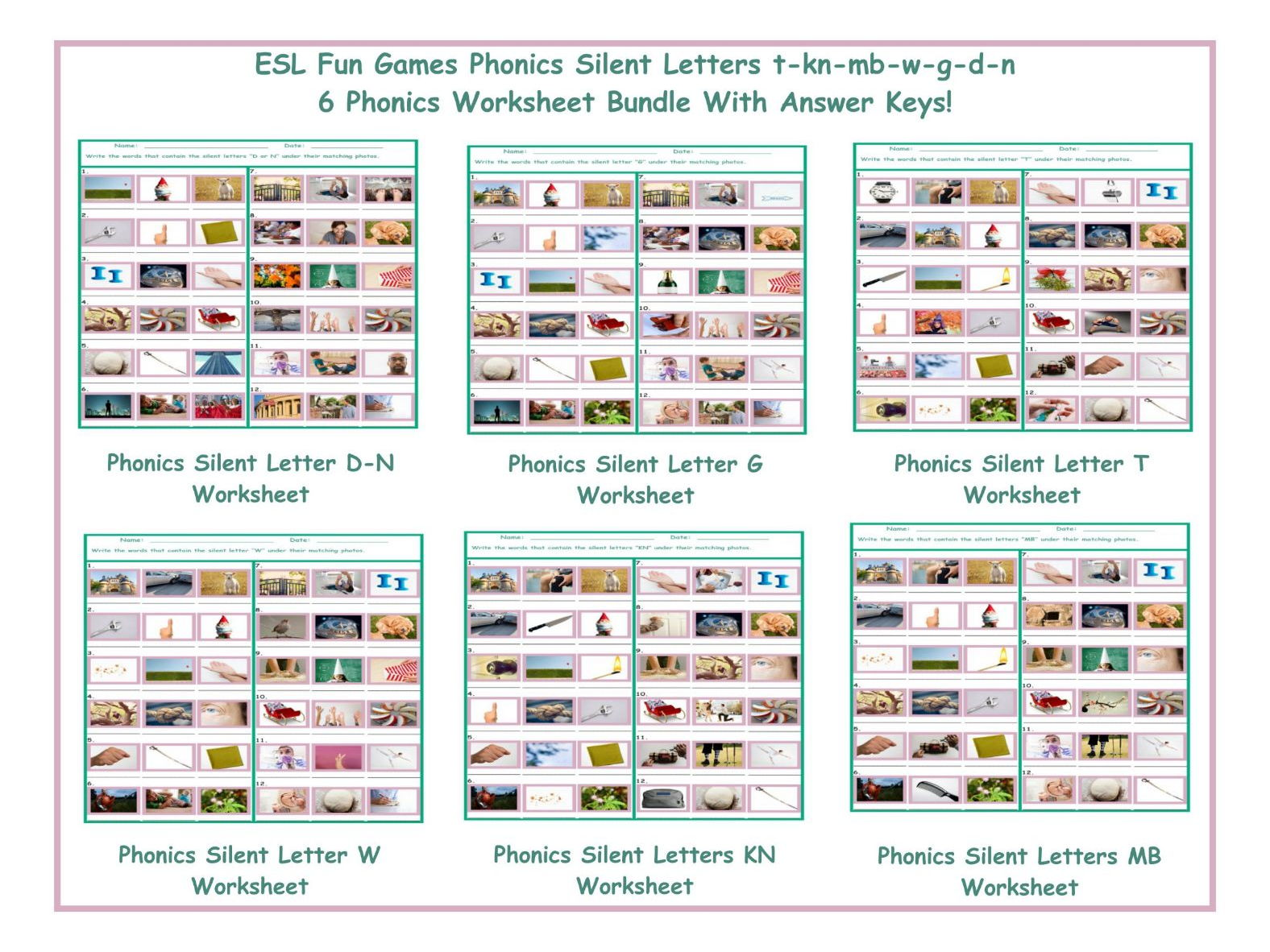 Phonics Silent Letters T Kn Mb W G D N Six Game Bundle