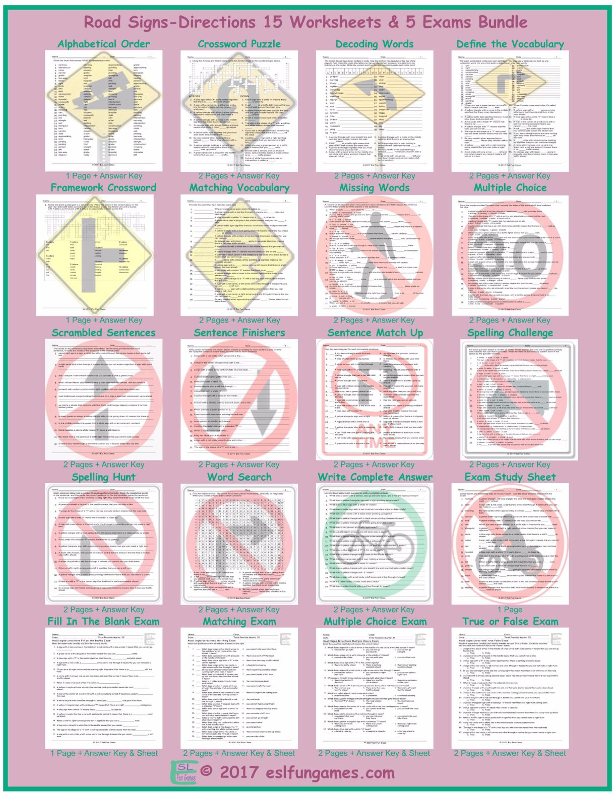 Road Signs Directions 20 Worksheet And Exam Bundle By