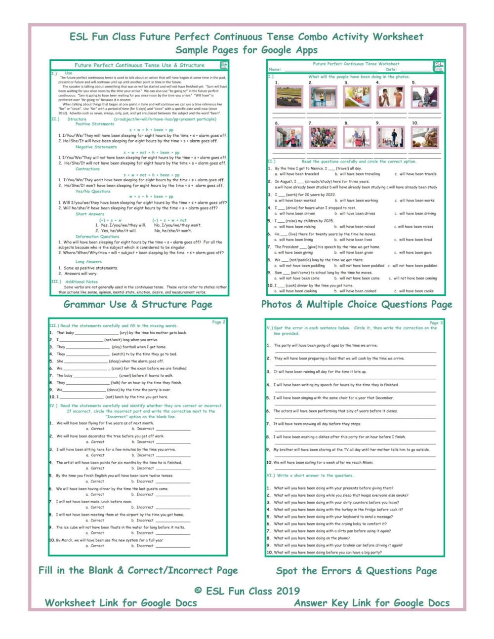 medium resolution of Future Perfect Continuous Tense Exercises With Answers - Exercise Poster