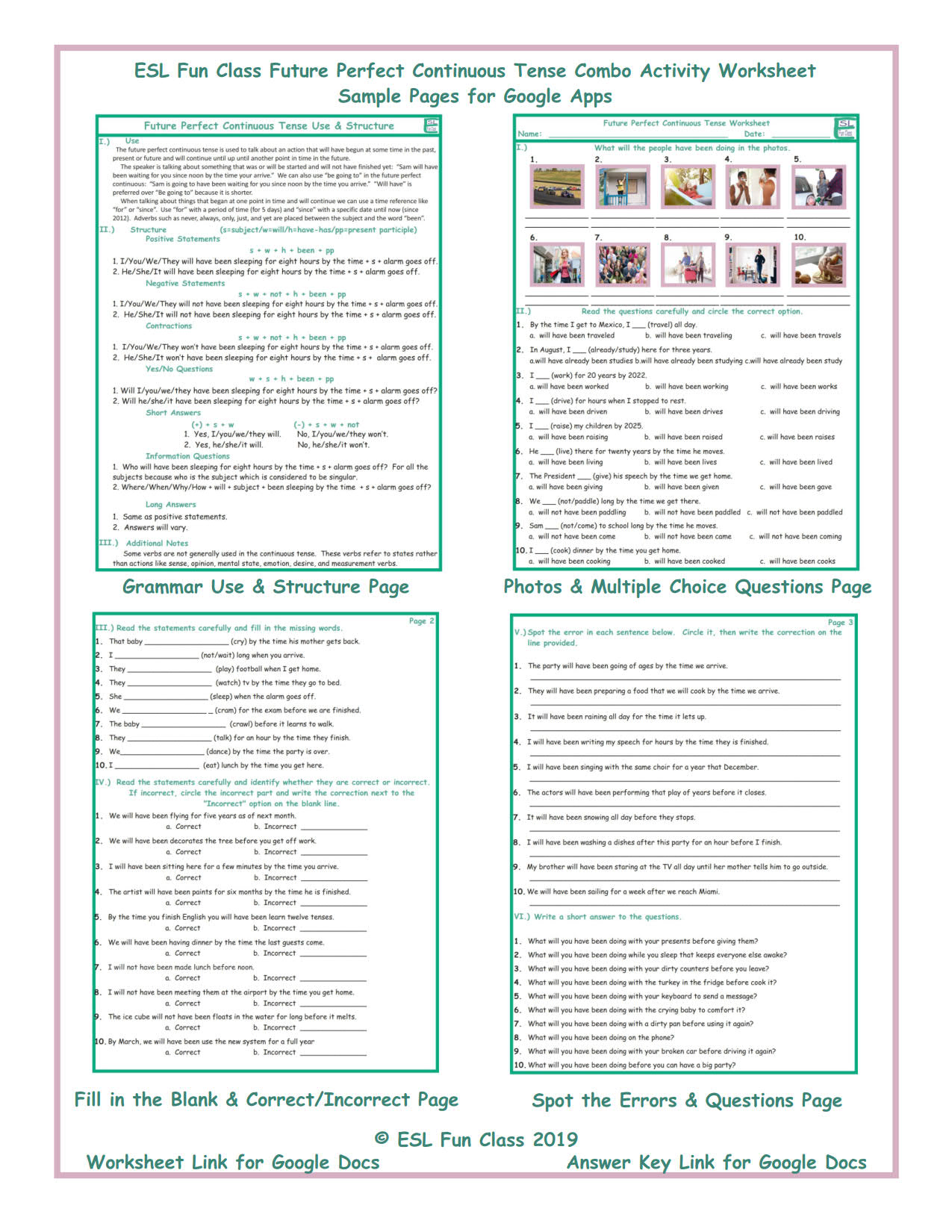 hight resolution of Future Perfect Continuous Tense Exercises With Answers - Exercise Poster