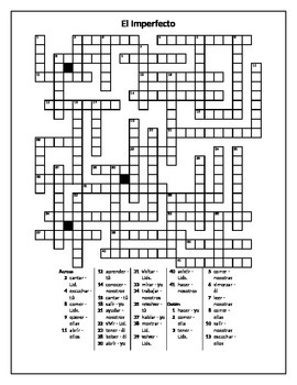 Imperfecto (Imperfect tense in Spanish) Crossword 1 by