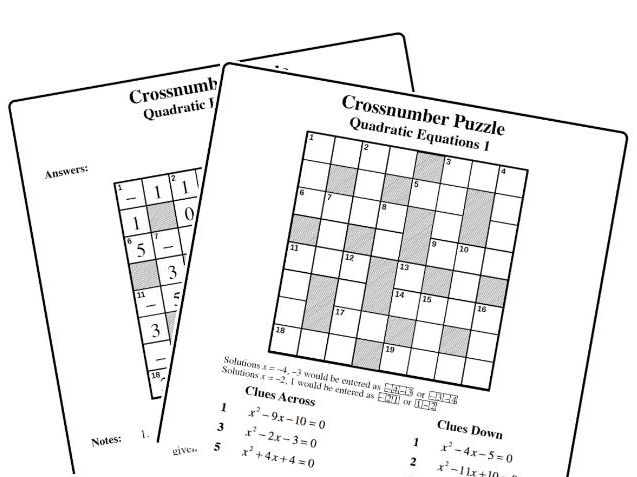 Crossnumber Puzzle: Quadratic Equations 1 by mistercorzi1