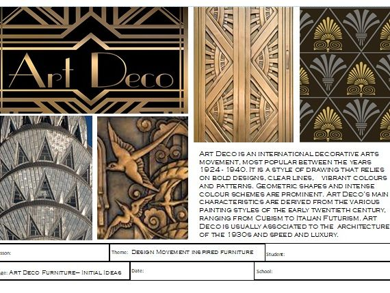 Art Deco Inspired Furniture Design Teaching Resources