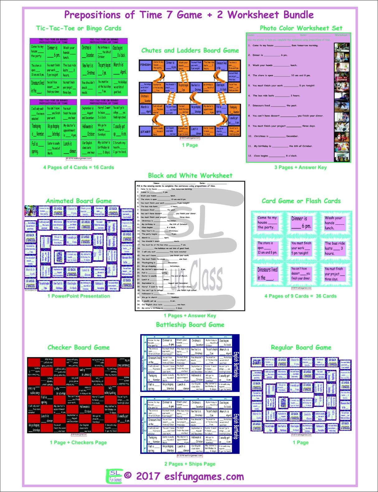 Prepositions Of Time 7 Game Plus 2 Worksheet Bundle By