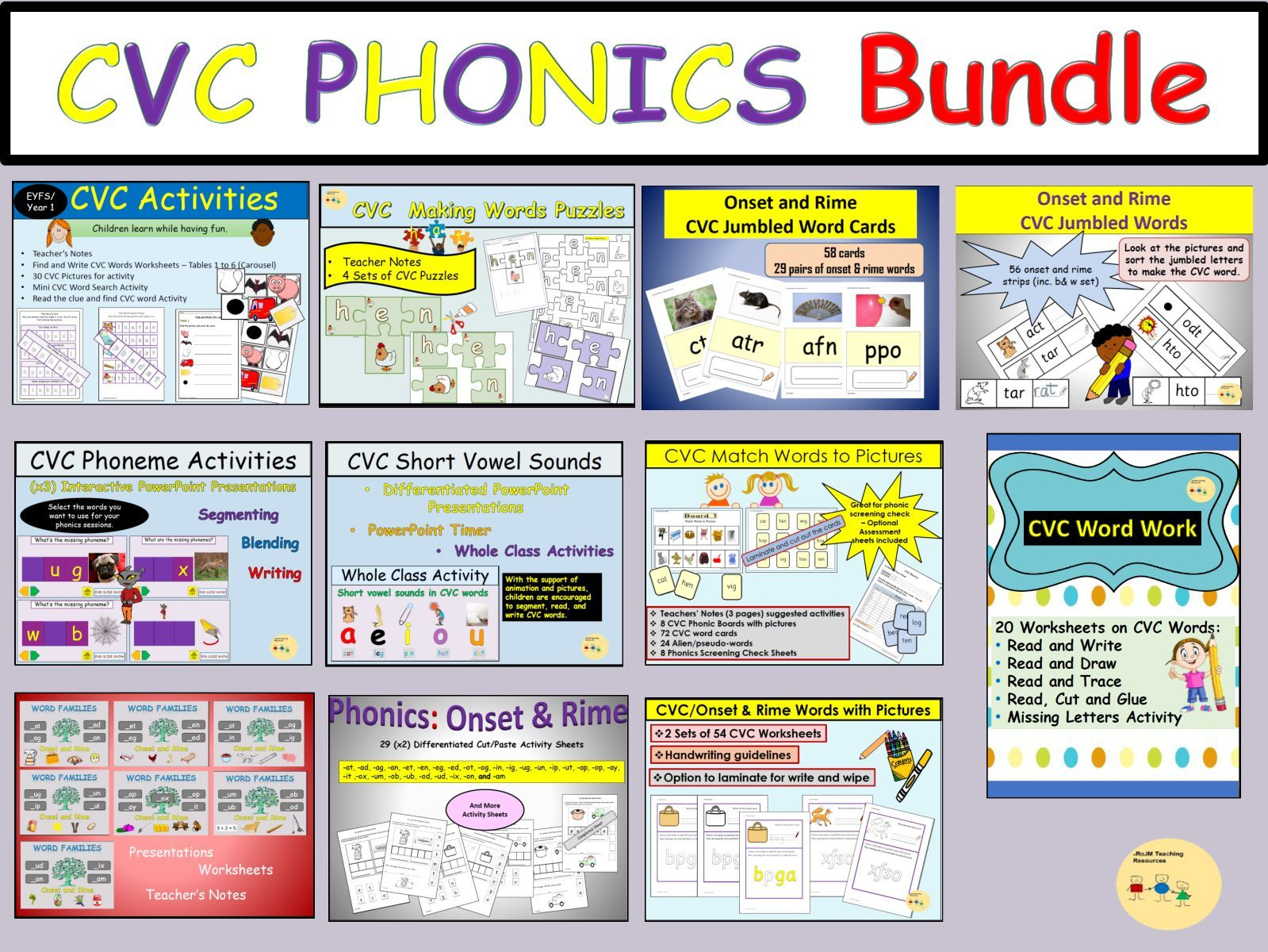Onset And Rime Cvc Phonics Activity Sorting Words And