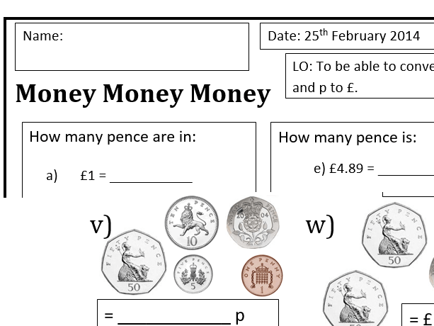Converting money pounds to pence and p to £ differentiated