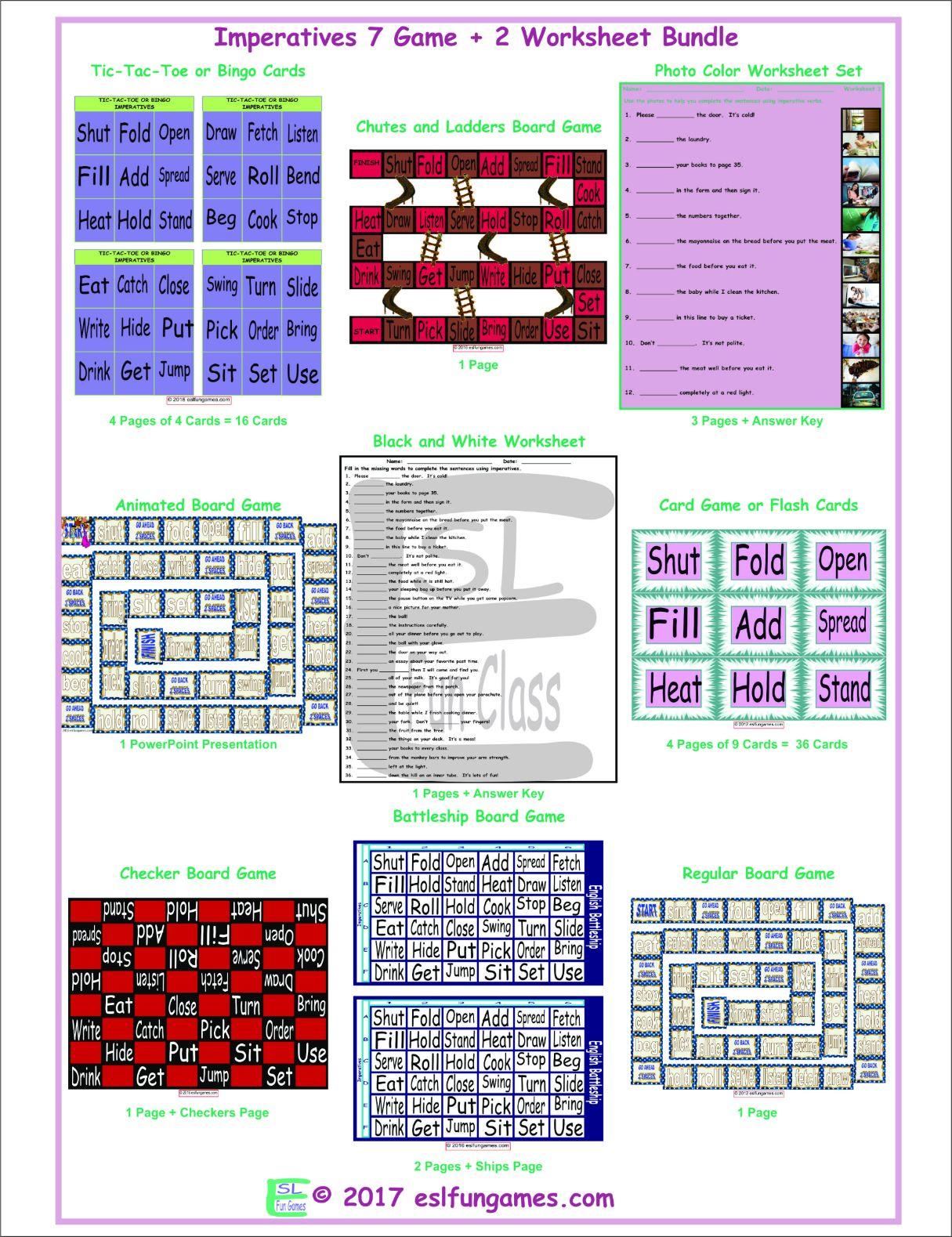 Imperatives 7 Game Plus 2 Worksheet Bundle