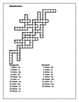 Modalverben (German Modal verbs) Present tense Crossword