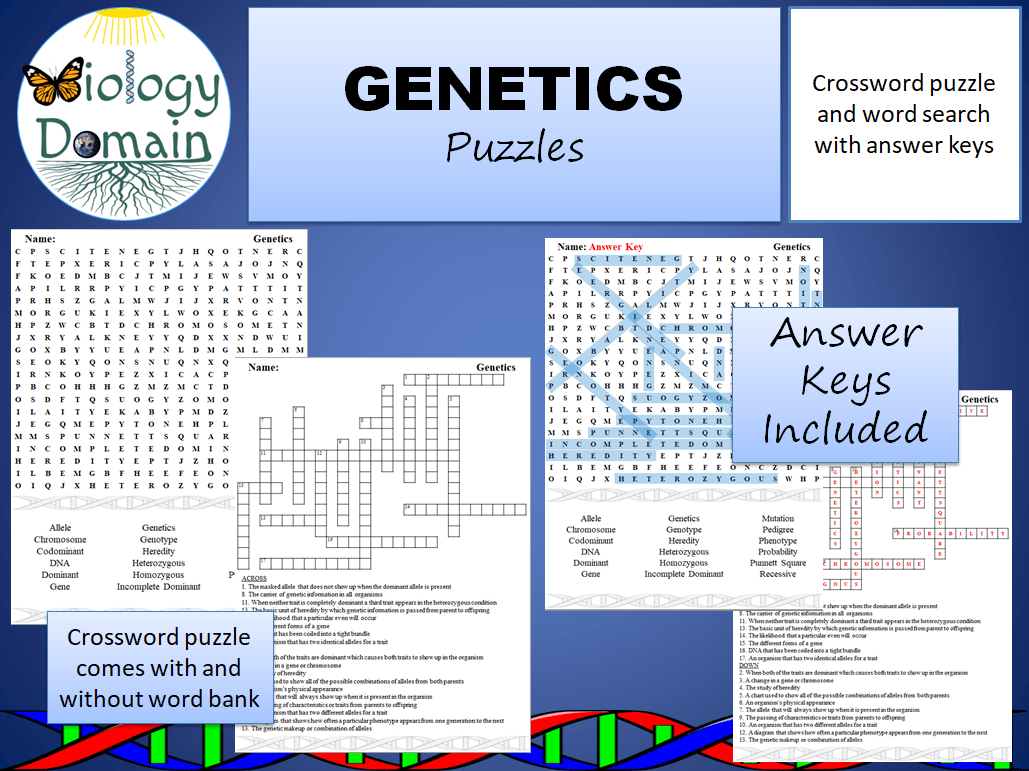 Genetics Unit Vocabulary Crossword Answer Key