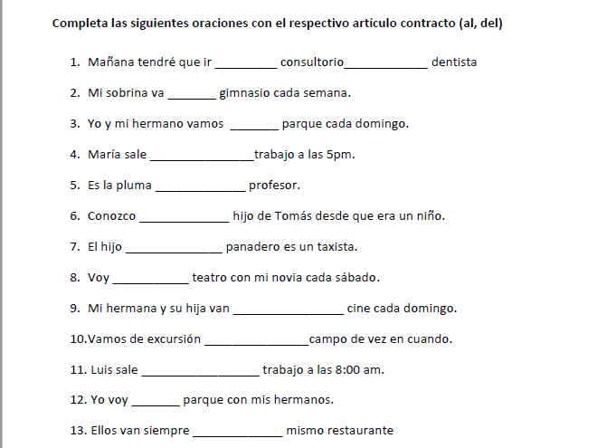 Spanish- Articles Contractions (al,del) Worksheet with 40