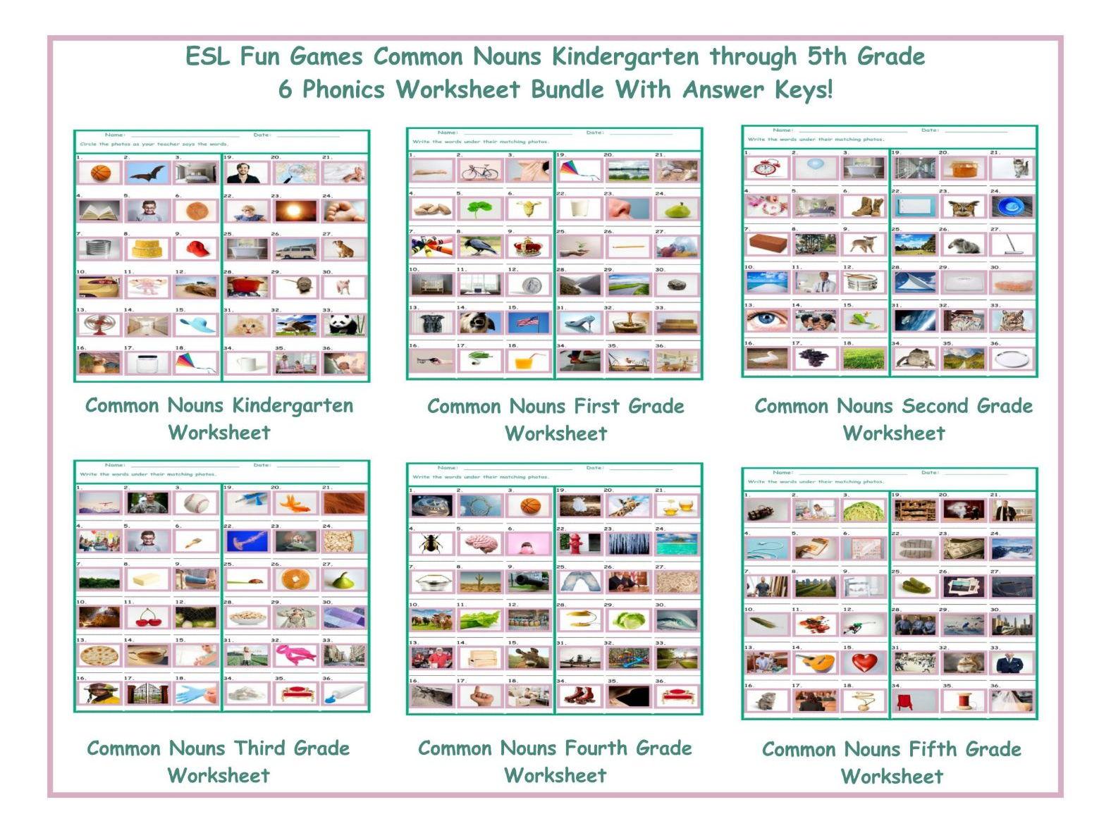 Common Nouns Worksheet Bundle By Eslfungames