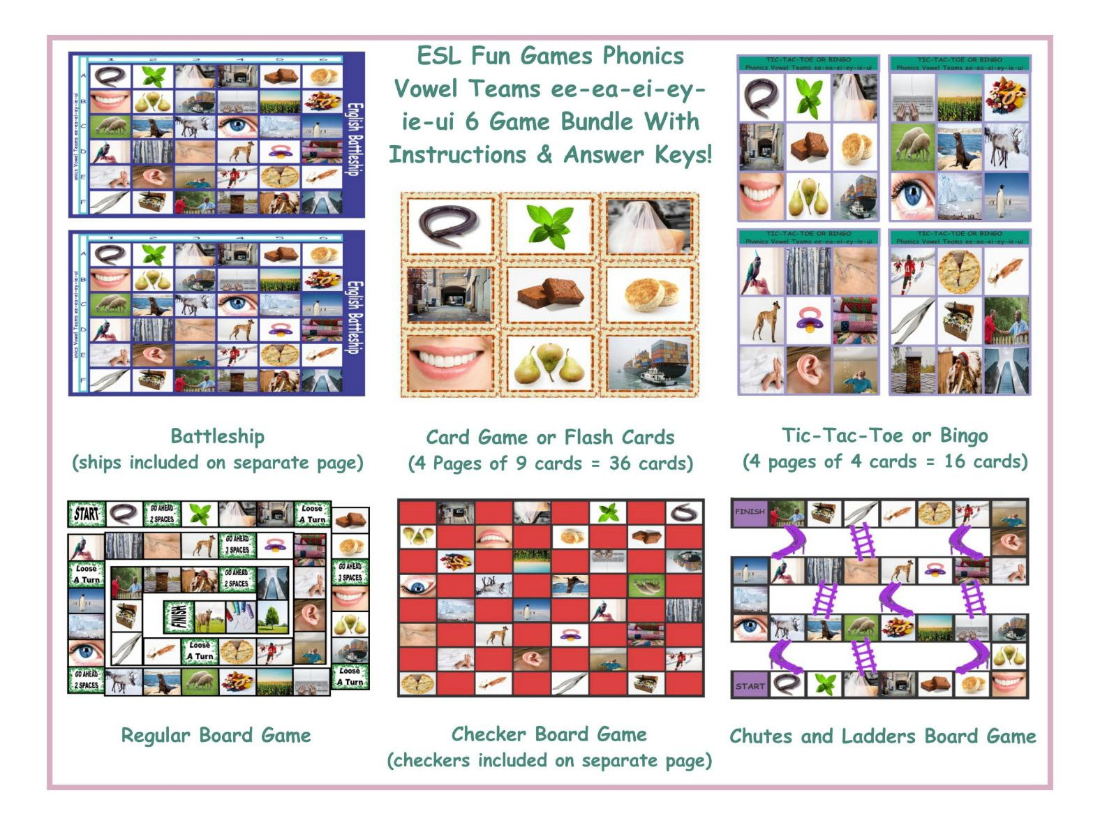 Phonics Vowel Teams Ee Ea Ei Ey Ie Ui 6 Game Bundle By