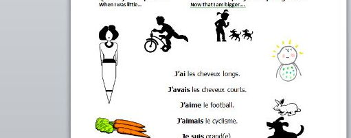French worksheet with present and imperfect tense on
