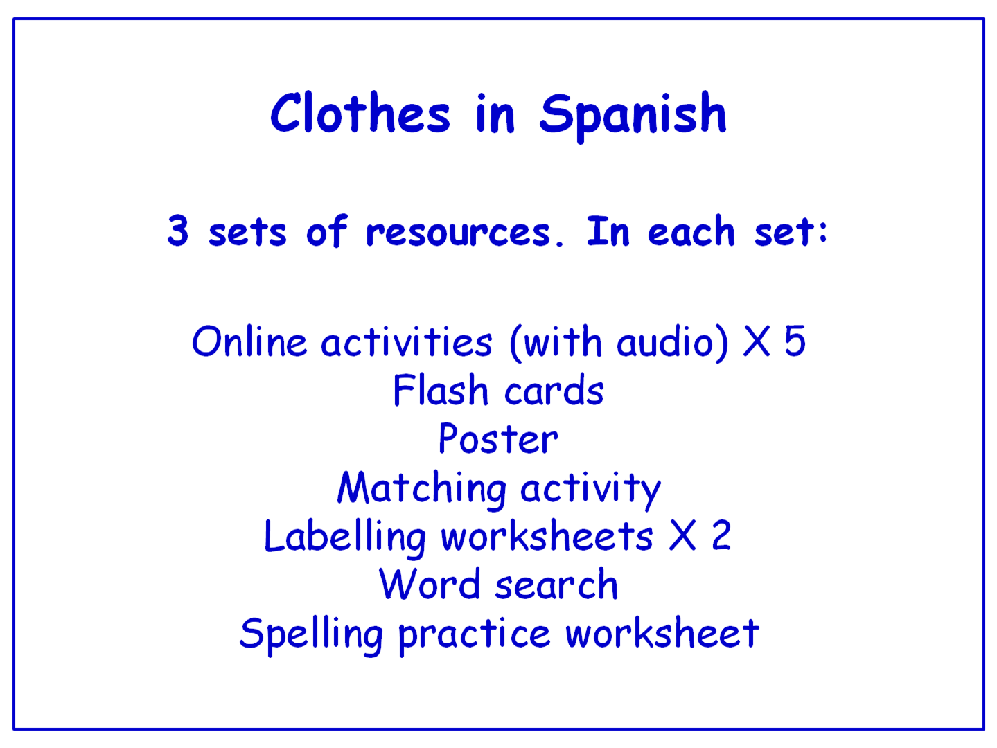 Clothes In Spanish Worksheets Games Activities And Flash
