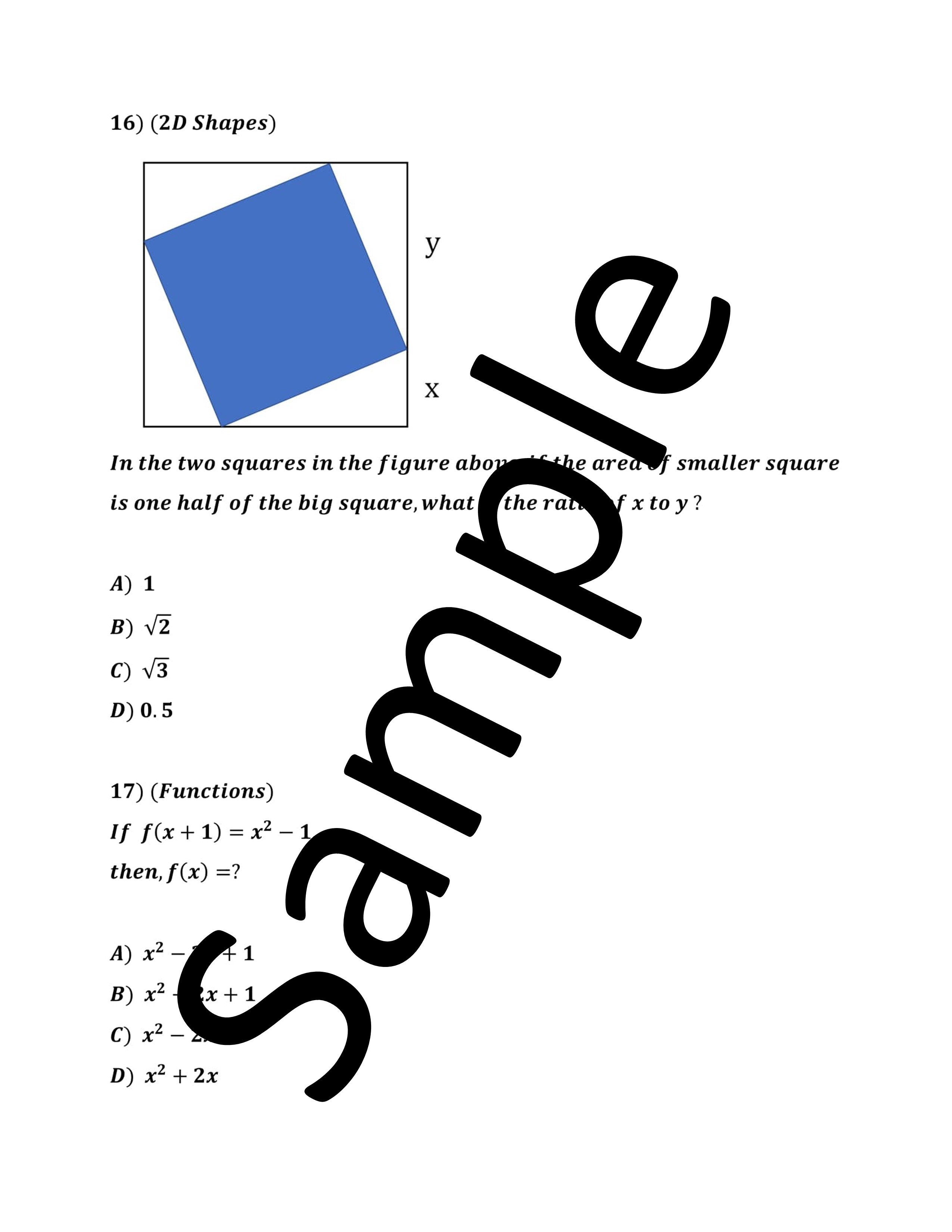 30 Difficult SAT Math Problems with Video Solutions on