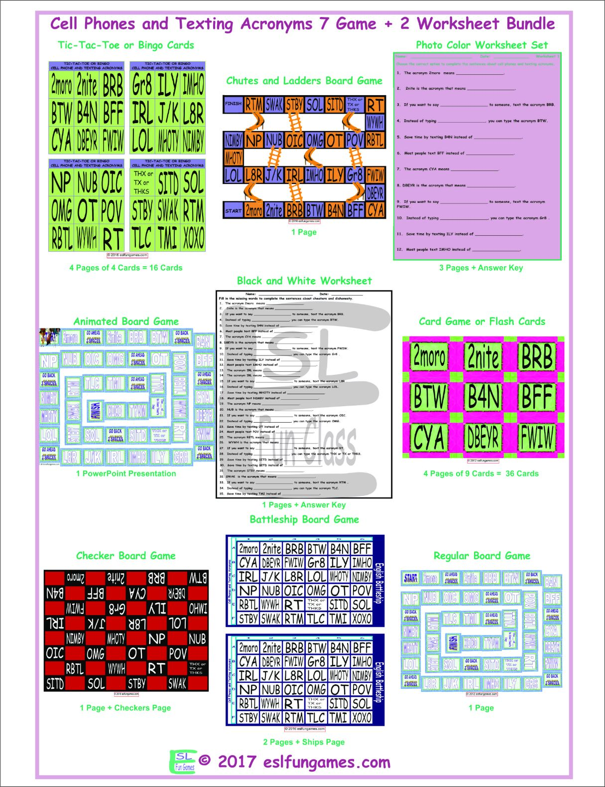 Cell Phones And Texting Acronyms 7 Game Plus 2 Worksheet